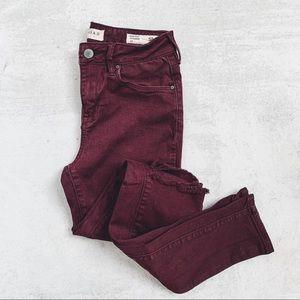 BULLHEAD • burgundy high rise skinny jeans